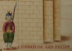 Foto5, Fragment d'un dibuix del gremi de velluters per als alardos de proclamació de Carles IV, 1789, Arxiu Municipal de Xàtiva, LG-645
