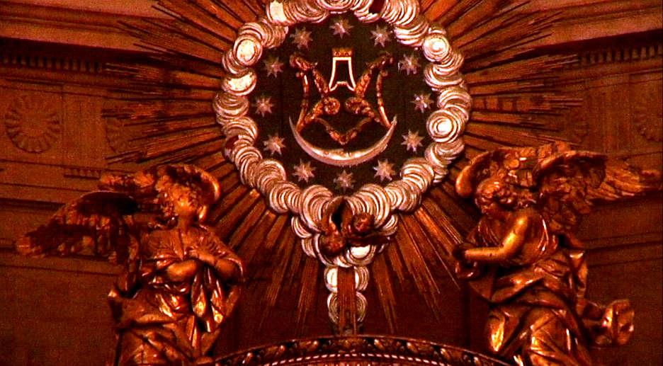 Anagrama de Maria, altar major de Santa Maria de Xàtiva (la Seu), finals del XVIII.