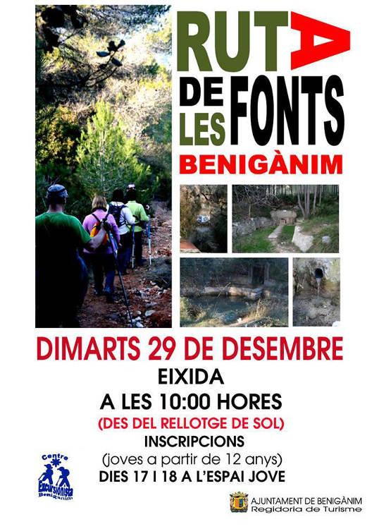 Benigànim organitza la 'Ruta de les Fonts' el 29 de desembre