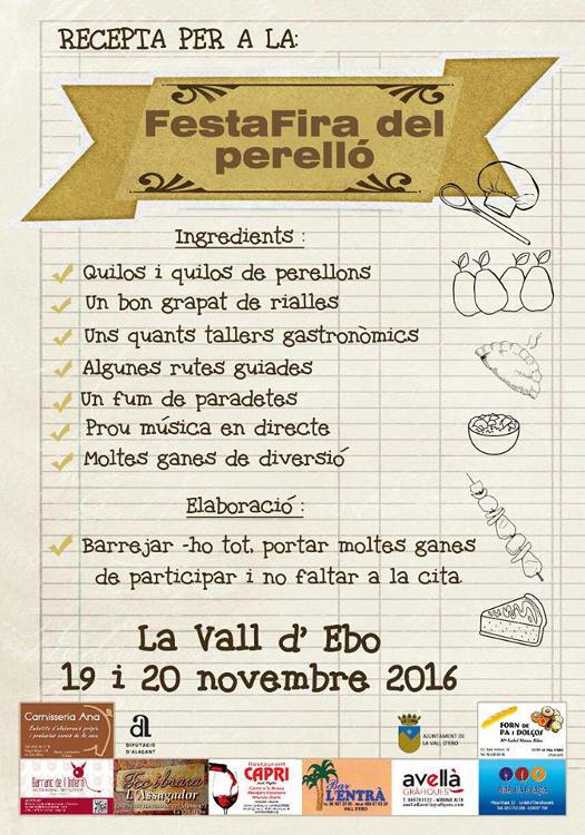 La Vall d'Ebo celebra la FestaFira del Perelló el 19 i 20 de novembre