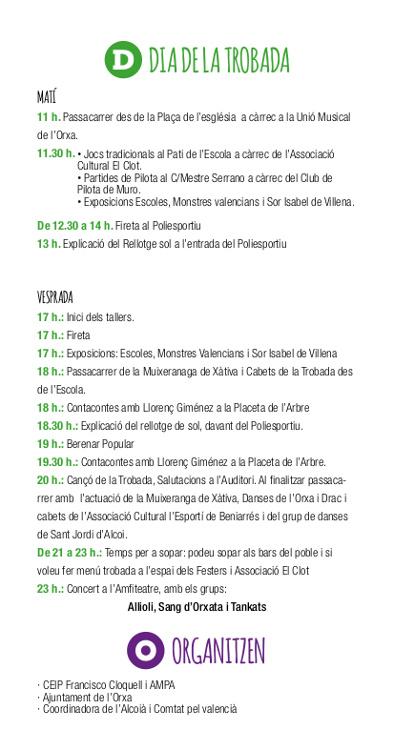 La Trobada d'Escoles Valencianes de l'Alcoià-Comtat celebra el 30é aniversari a l'Orxa