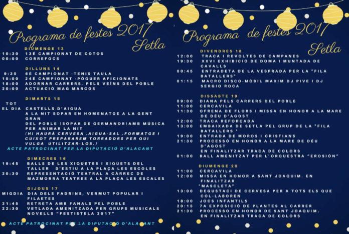 Setla de Nunyes celebra les festes en honor a Sant Joaquim i la Mare de Déu d'Agost