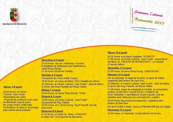 Beniarrés celebra la Setmana Cultural fins al 13 d'agost