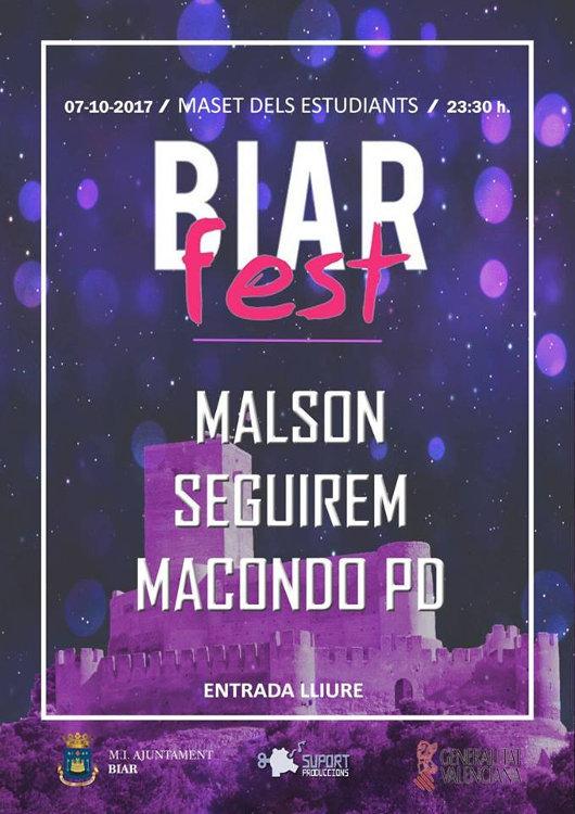 Malson, Seguirem i Macondo PD actuaran al segon 'Biar Fest'