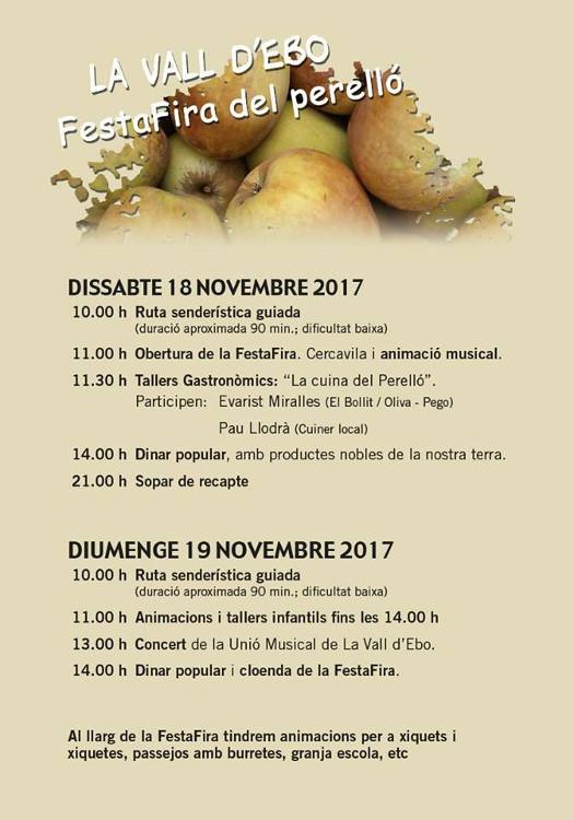 La Vall d'Ebo rep la FestaFira del Perelló el 18 i 19 de novembre