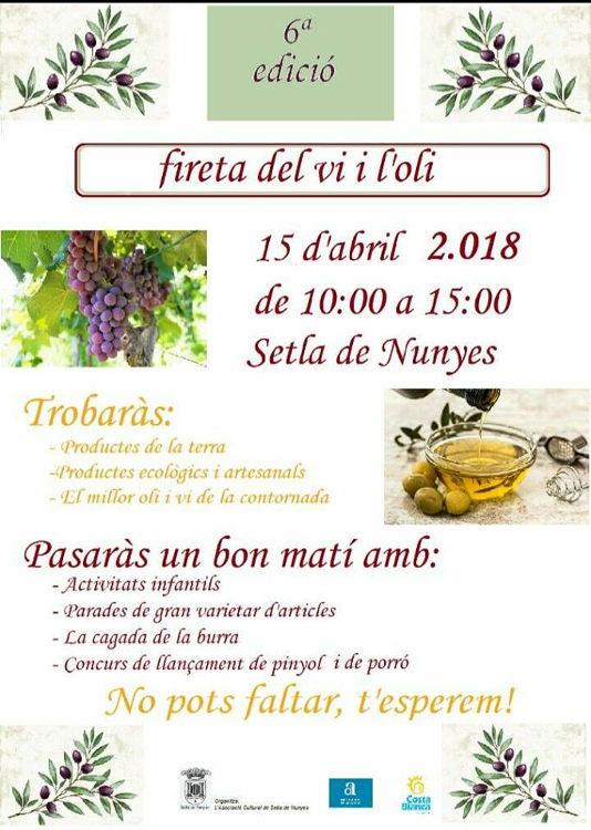 Setla de Nunyes celebra la VI Fireta de l'Oli i el Vi el 15 d'abril