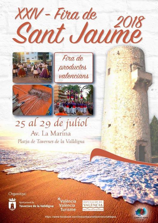 La platja de Tavernes rep la Fira de Sant Jaume amb una bona mostra d'artesania i cultura valenciana